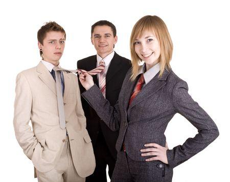 feminismo: Grupo de personas en traje de negocios. Feminismo. Aislado.