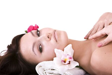 Beautiful young woman in spa.Isolated. Stock Photo - 6207456