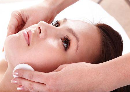 Beautiful young woman in spa. Facial massage. Stock Photo - 6207357