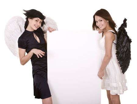 Group o fhalloween angel with banner. Isolated. Stock Photo - 6207233