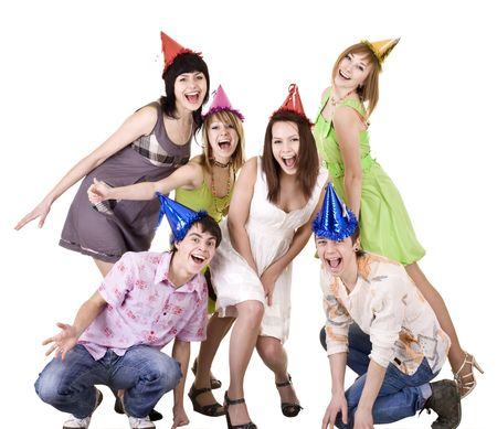 boys party: Group of teenagers celebrate birthday. Isolated. Stock Photo