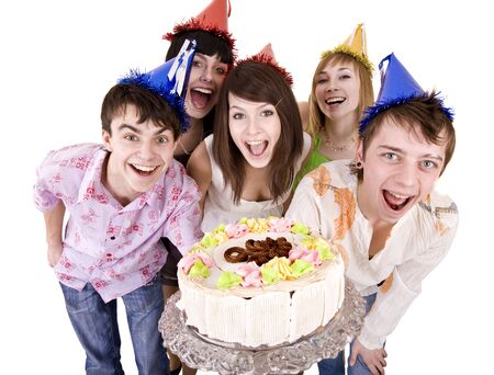 Group of people celebrate happy birthday with cake. Isolated.    photo