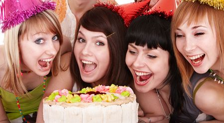 girl party: Group of young people celebrate happy birthday.  Isolated.
