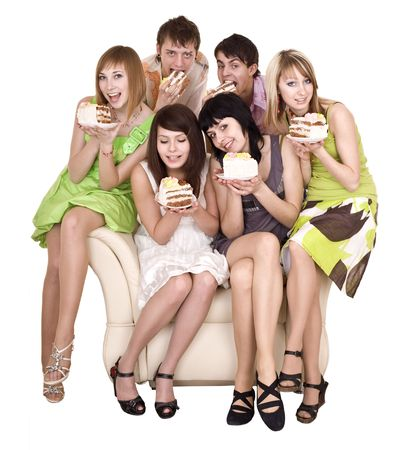 Group of people eat cake. Isolated. photo