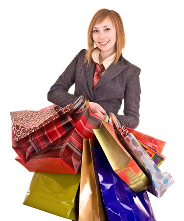 Businesswomen with group of bag. Shopping. photo