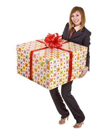 Business woman with big gift box. Isolated. photo