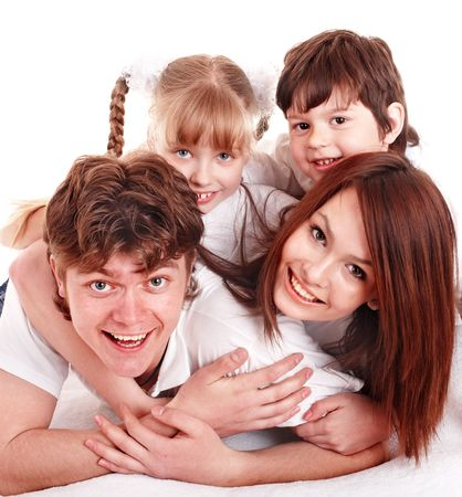 Happy family with two children. Isolated. Stock Photo - 6207446