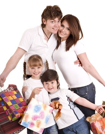 Happy family and child shopping. Isolated. photo
