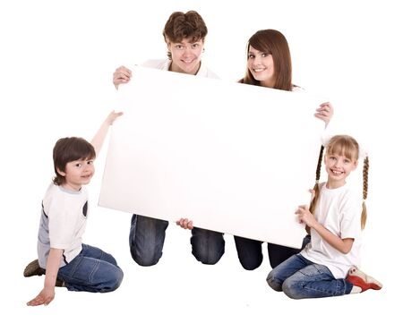 Happy family with white banner.Isolated. Stock Photo - 6207624