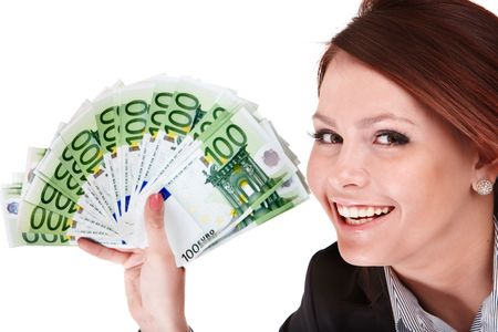 money euro:  Businesswomen with group of money. Isolated.
