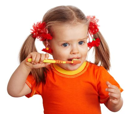 girl teeth:  Child girl clean brush teeth. Isolated.