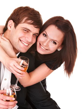 Couple of girl and man kiss and drink wine. Isolated. photo