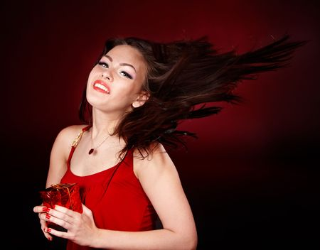 Girl with small red gift box. Valentines day. Stock Photo - 6345195