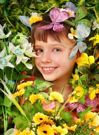 Beautiful girl with butterfly and  flower.  photo