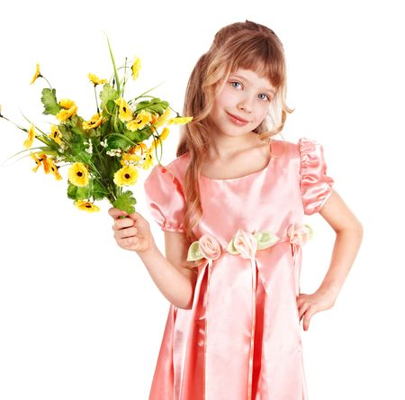 Beautiful girl with spring flower. Isolated. photo