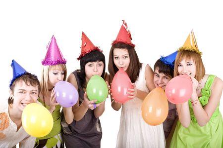 Group of teenagers celebrate birthday. Isolated. Stock Photo - 6395694