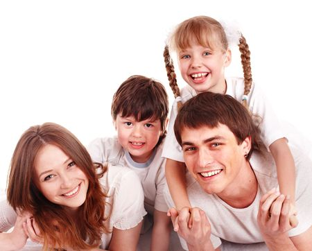 Happy family with two  children.  Isolated. photo