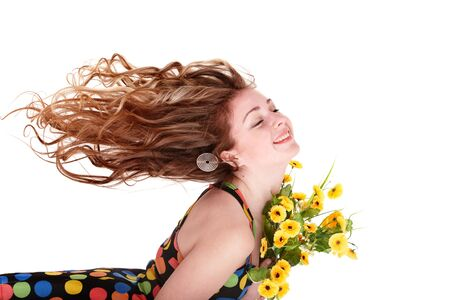 Beautiful girl with wild flower. Isolated. photo