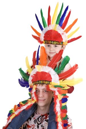 Two brother in indian costume. Isolated. photo