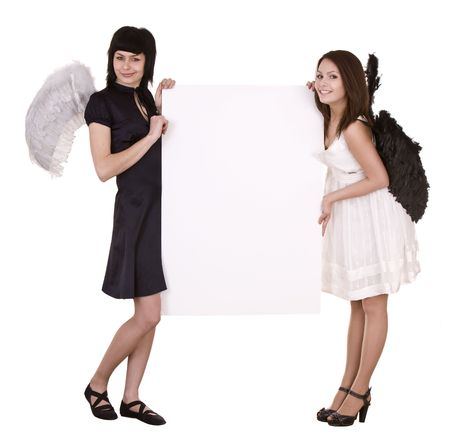 Couple of angel with banner. Isolated. photo