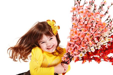 Beautiful girl with spring flower and  butterfly. Isolated. Stock Photo - 6443888