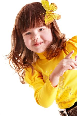 Beautiful girl in yellow with   butterfly point. Isolated. Stock Photo - 6443509
