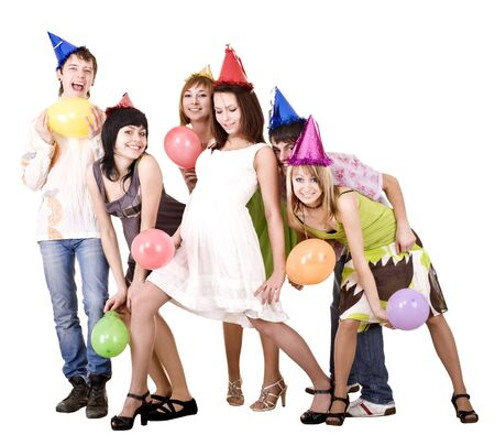 Group of young people celebrate birthday. Isolated. photo