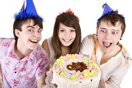 Group of teenagers with cake celebrate happy birthday. Isolated. photo