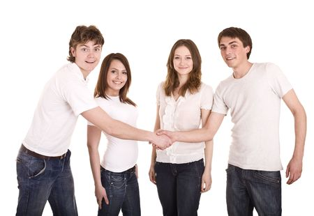 acquaintance: Happy family in whit t-shirt shake hand. Isolated. Stock Photo
