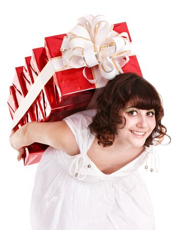 Beautiful girl with group of gift box. Isolated. Stock Photo - 6467507