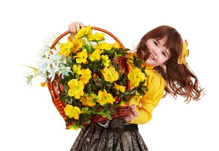 Beautiful girl with wild yellow flower. Isolated. Stock Photo - 6467516