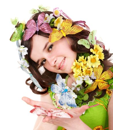 Girl with butterfly and flower on head. Spring hair. Isolated. Stock Photo - 6467565