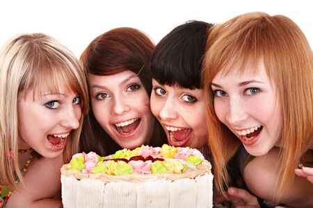 Group of young people celebrate happy birthday. Isolated. photo