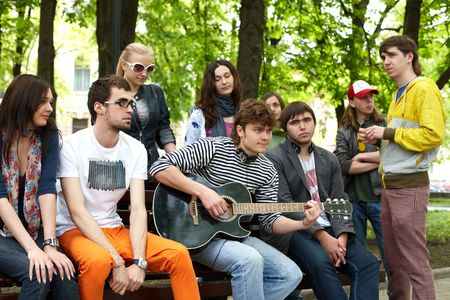 Group people in park. Outdoor. photo