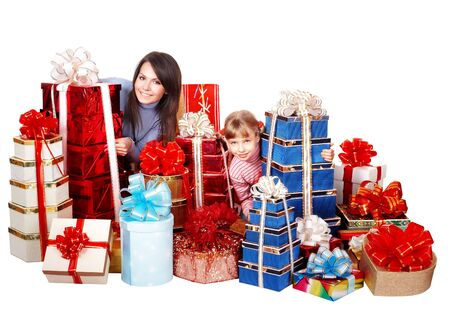 Happy family with child and group gift box. Isolated. photo