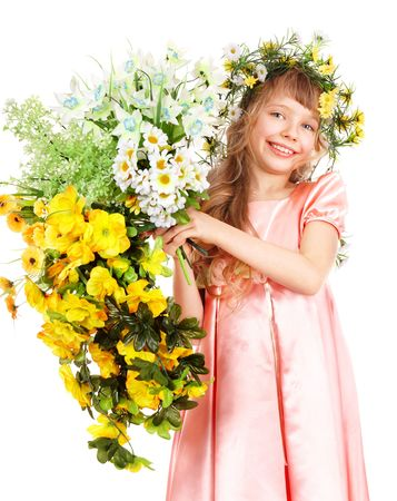 Beautiful girl with garland of wild flower. Isolated. photo