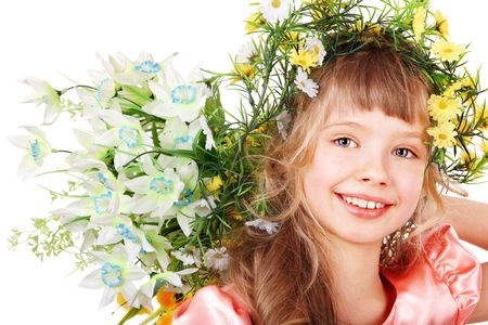 Beautiful girl with  of wild flower on head. Isolated. photo