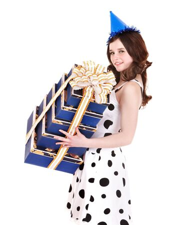 Beautiful girl with group of gift box. Isolated. Stock Photo - 6518305