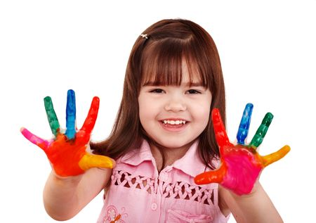'face painting': Happy child with colorful  painted hands. Isolated. Stock Photo