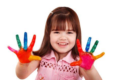 maquillaje infantil: Ni�o feliz con coloridos manos pintadas. Aislado. Foto de archivo