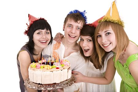 Group o fpeople with cake celebrate happy birthday. Isolated. Stock Photo - 6616955