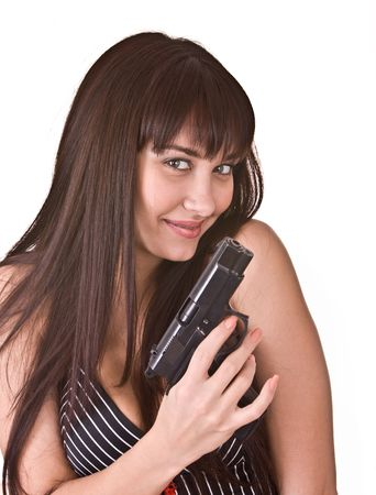 Beautiful young women with gun. Isolated. photo