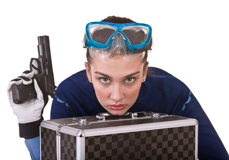 Girl in goggles and gun.  Isolated.  photo