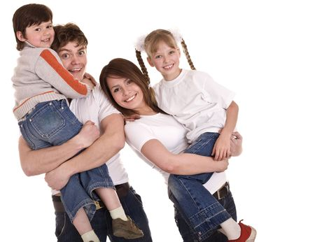 upbringing:  Happy family upbringing children. Isolated
