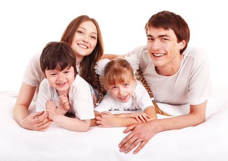 upbringing: Happy family upbringing children. Isolated. Stock Photo