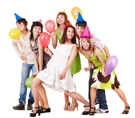 Group of people celebrate birthday. Isolated. photo