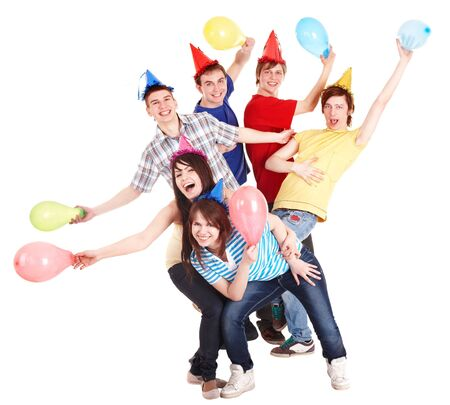 Group of people in party hat and baloon. Isolated. Stock Photo