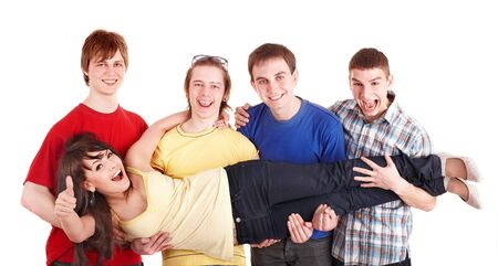 Group people with thums up. Men hold  girl on hands. Isolated. photo