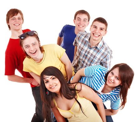 young adult men: Group of happy young people. Isolated.