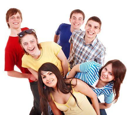 je�ne: Groupe de jeunes heureux. Isol�.